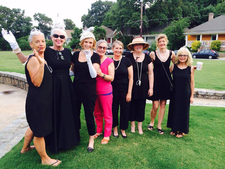 A few of Greg's clients in Cabbagetown dress for Breakfast at Tiffany's, Diva Karin, Diva Ro, Diva Barb, Diva Lynne, Susan, Dian, Karen, and Ro