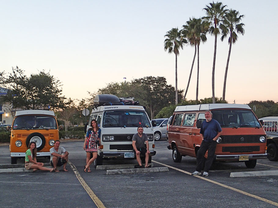 The van gang. Rachel and James with Sunshine, Emily and Corey with Boscha, and Greg with Great A'Tuin.