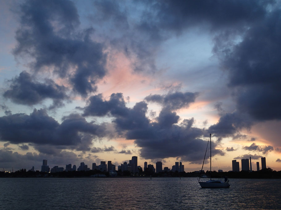 Sunset over Miami.