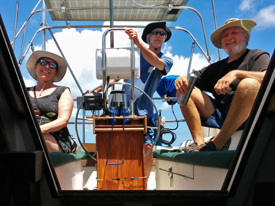 David takes the helm as we sail on Biscayne Bay.