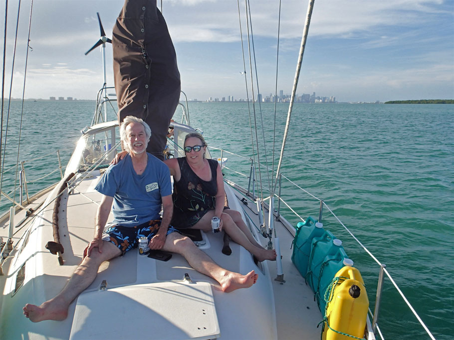 David and Michelle afloat aboard Blue Wing in Biscayne Bay.