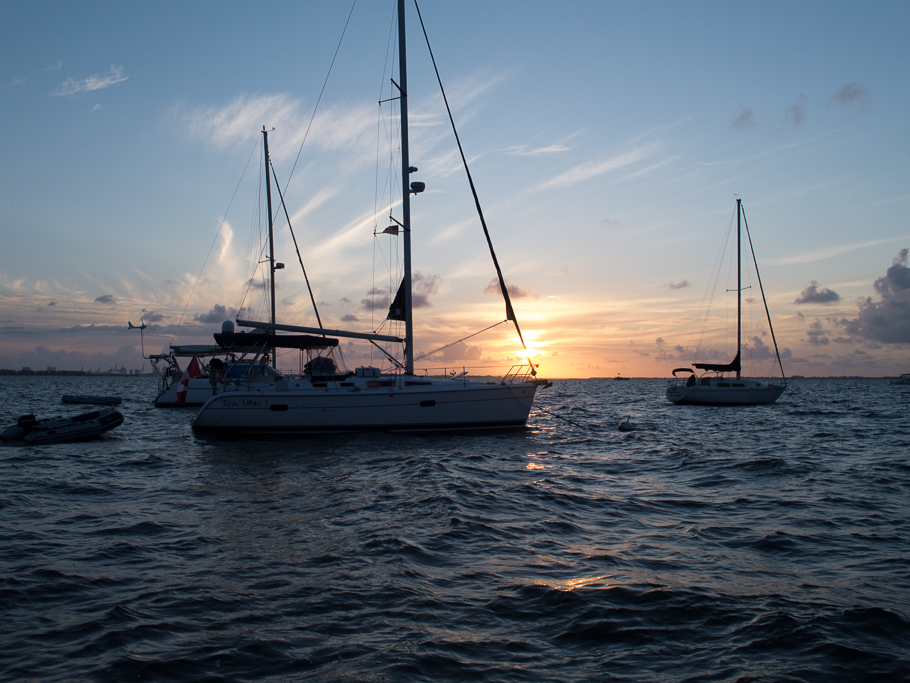 Sunrise over Dinner Key Marina. - photo by David Littlejohn