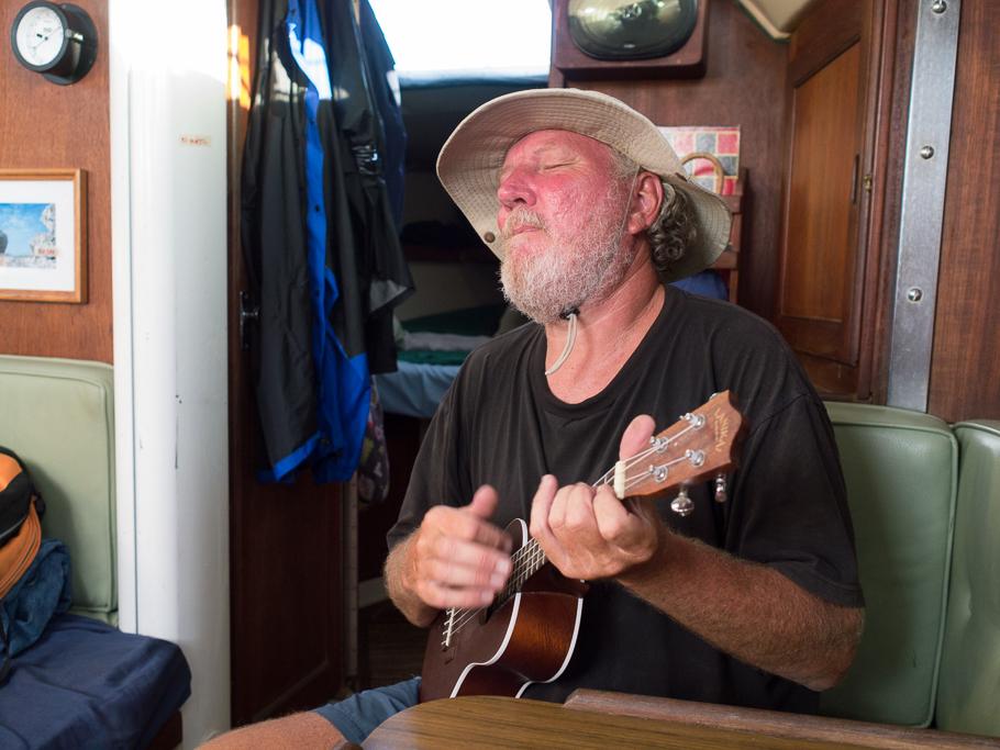 Greg strumming the uke.