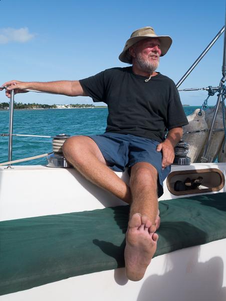 Greg relaxing on deck. - photo by David Littlejohn