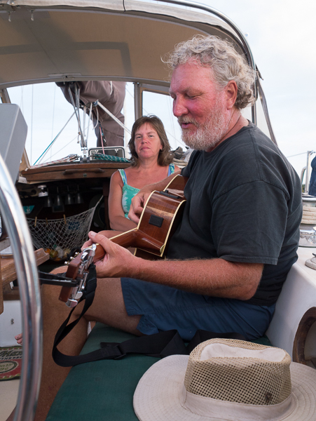 Jamming on the boat - David's view. - photo by David Littlejohn