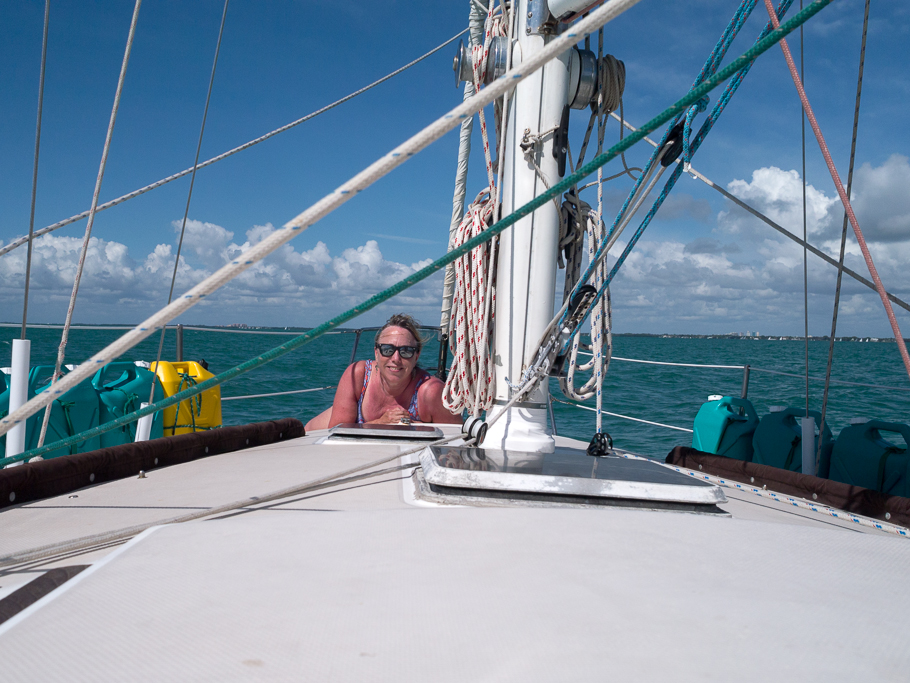 "Another day of sailing. Michelle works on her ""burn."" - photo by David Littlejohn"