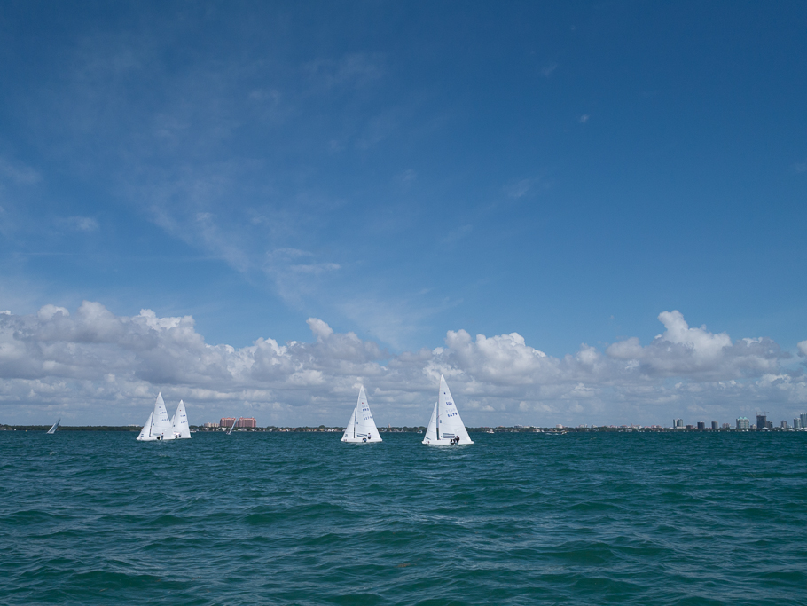 Biscayne Bay is a busy place. We we in the middle of a regatta before we realized it - the International Star Class Western Hemisphere Regatta, with 38 teams from 7 countries competing. - photo by David Littlejohn