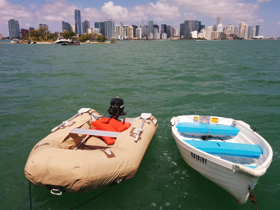 View of Miami and one of our completed projects, dinghy chaps for Jethrine!
