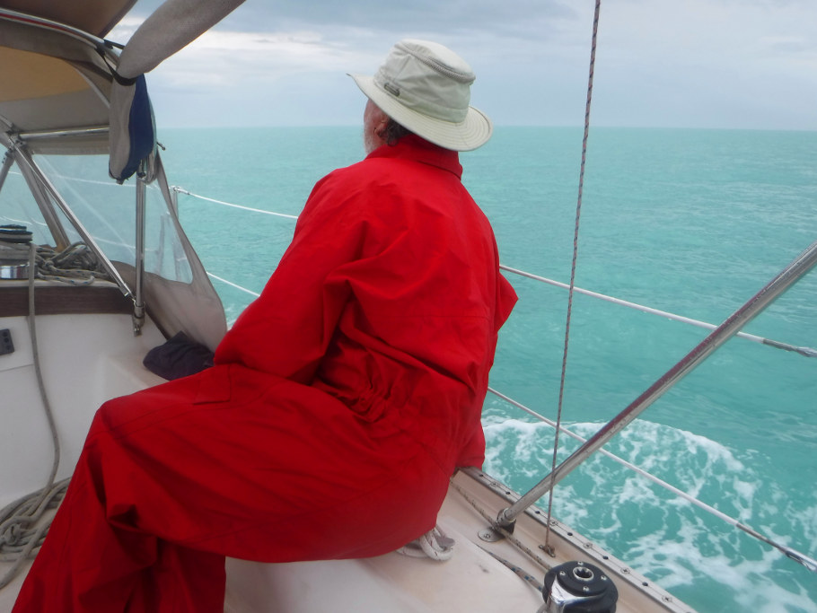 Greg watches for crab pots as we motor away from Key West.