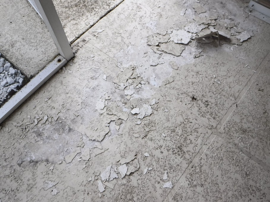 Porch floor. First scrape up any texture that will come off.