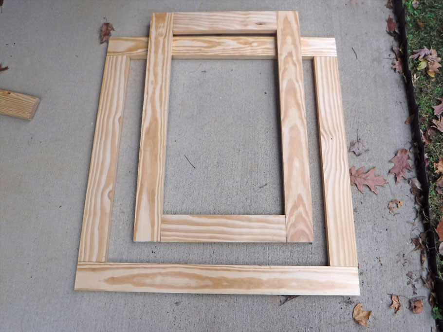 Started the galley frame by doweling these two rectangles together.
