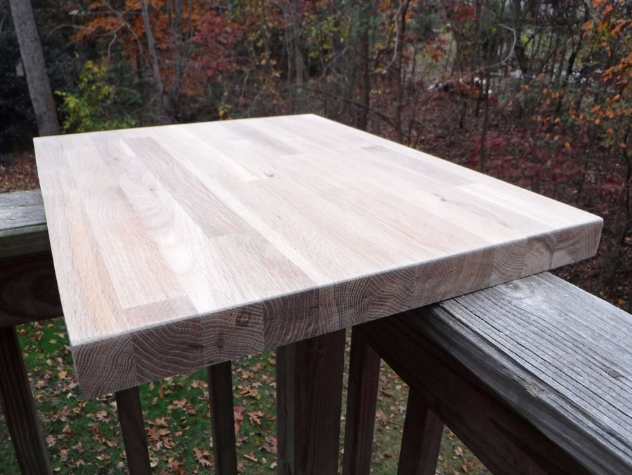 Here is a piece of butcher block salvaged from Cabbagetown. I trimmed it to size and sanded it.