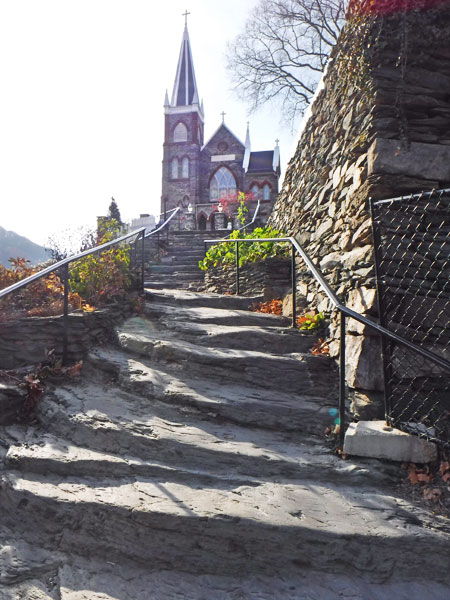 Stone steps to St. Peter's Catholic Church.
