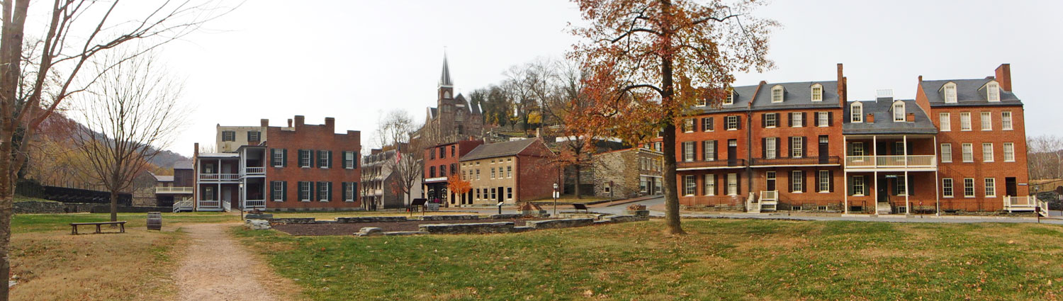The building on the right contains the John Brown museum. John Brown was a highly religious and very focused abolitionist. He believed that slavery would not be ended without violence. In October of 1895, he and his followers siezed the armory and other strategic points at Harpers Ferry. The raid failed. Most of the men were either killed or captures and eventually executed - including John Brown. (click this pic to enlarge)