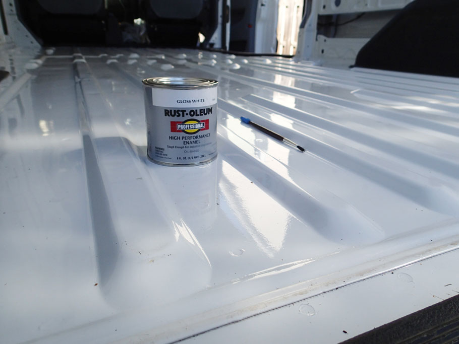 We bought a used cargo van, so we needed a lot of touch up painting on the interior.