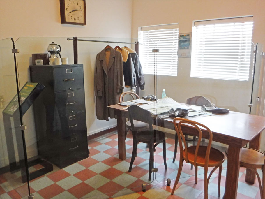 Replica of cadet waiting room at the Tuskegee Airfield
