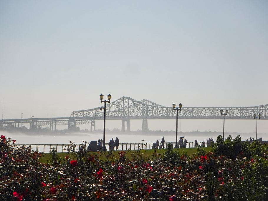 A fog rises on the Mississippi River.
