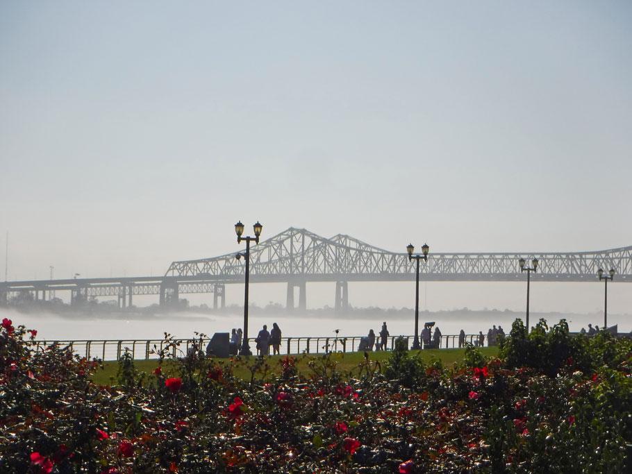 A fog rises on the Mississippi River.