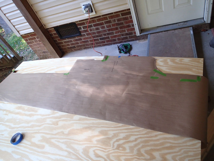 "Use the paper pattern to draw the irregular shape onto plywood. Then use circular saw and jigsaw to cut the plywood. We used this approach for all of the irregular shapes. Often we had to ""fine tune"" the cuts several times to get them right."